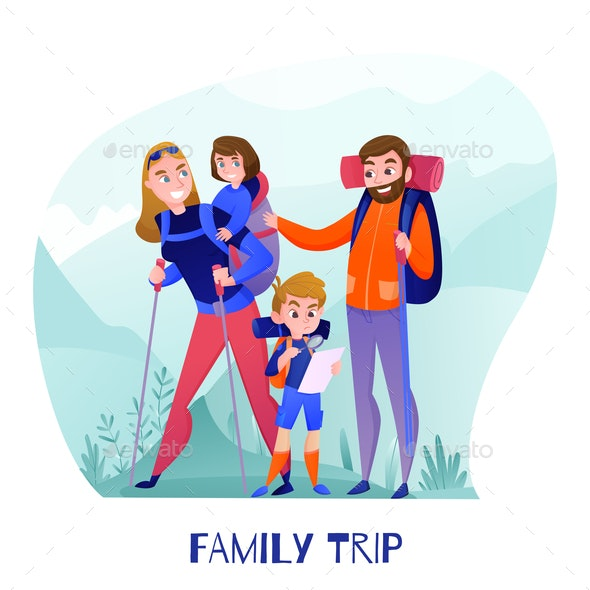 Family Travelers Illustration - People Characters