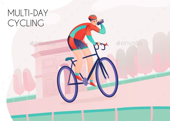 Multi Day Cycling Illustration - People Characters