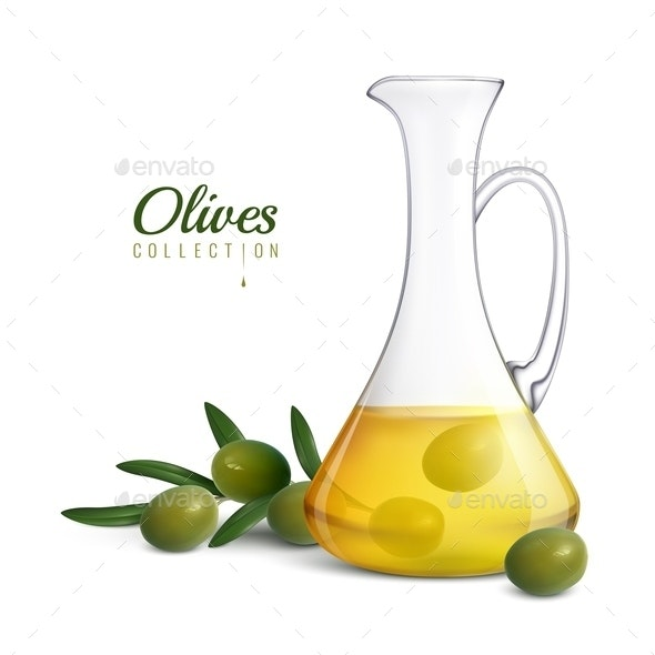 Olive Oil Realistic Composition - Food Objects