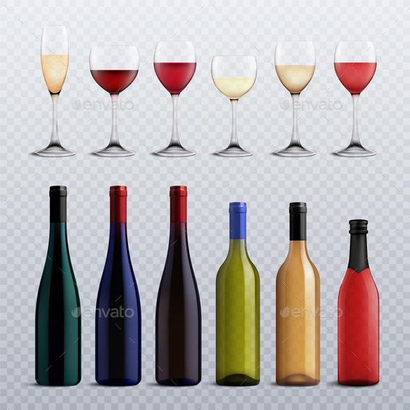 Wine Bottles And Glasses Transparent Set - Miscellaneous Vectors