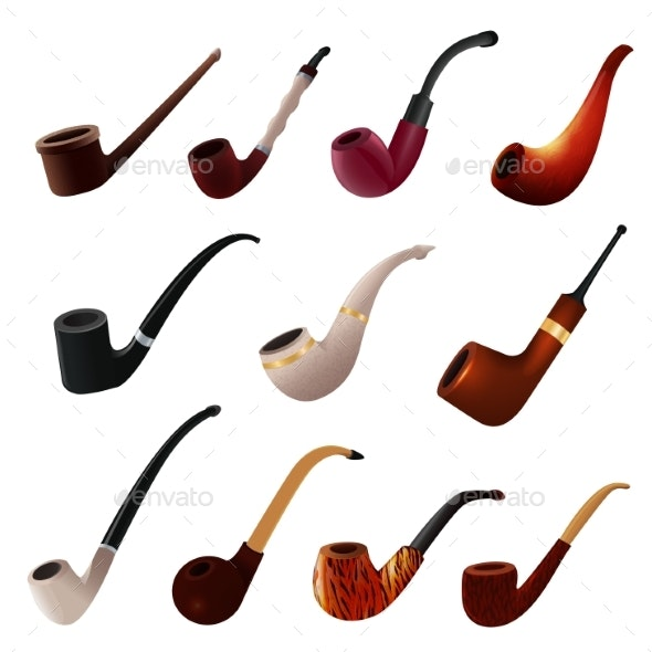 Tobacco Pipe Vector Vintage Nicotine Smoker Object - Miscellaneous Vectors