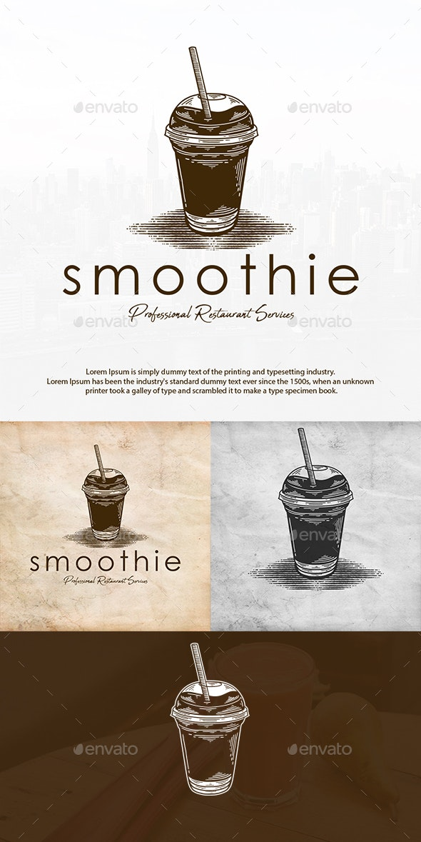 Smoothie Drink Vintage Logo - Food Logo Templates