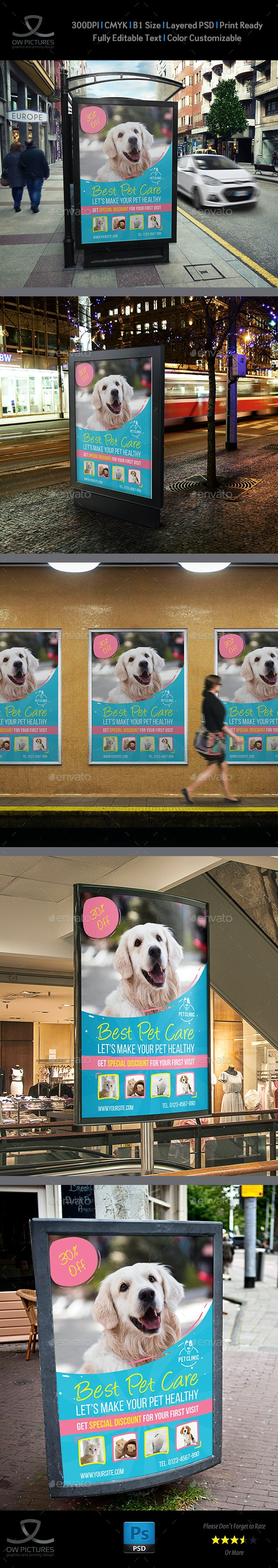 Pet Care Center Poster Template - Signage Print Templates
