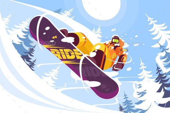Jumping Snowboarder in Trendy Suit - Sports/Activity Conceptual