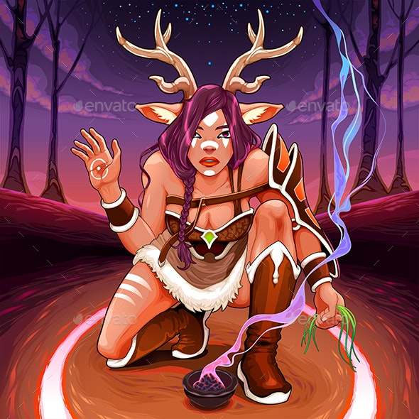 Female Faun is Making an Healing Ritual in the Wood - People Characters