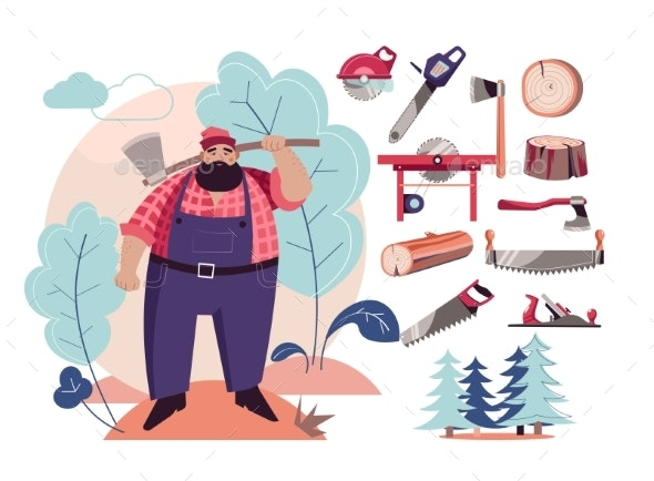 Woodcutter or Lumberjack Cutting Tools and Wood - Industries Business
