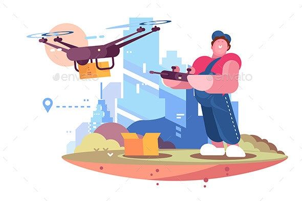 Delivery Man in Form Controlling Drone Behind City - Miscellaneous Vectors
