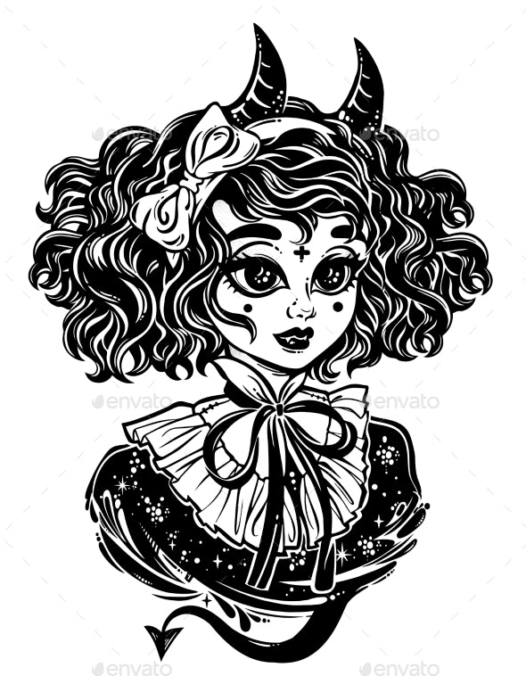 Adorable Chbi Gothic Victorian Demonic Girl Head - People Characters
