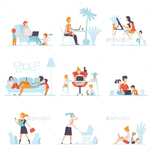 Parents Working at Home on Computers Set - People Characters