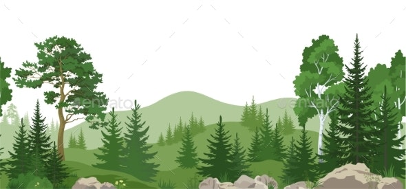 Seamless Landscape with Trees - Landscapes Nature
