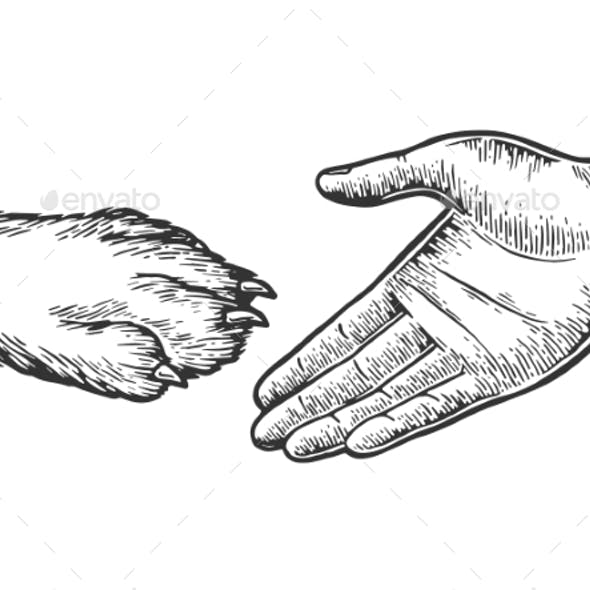 Dog Paw Handshake Engraving Vector Illustration