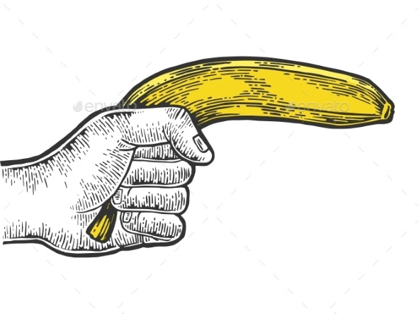 Hand Aiming Banana As Pistol Engraving Vector - People Characters