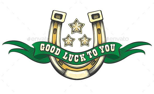 Good Luck Horse Shoe Emblem - Tattoos Vectors