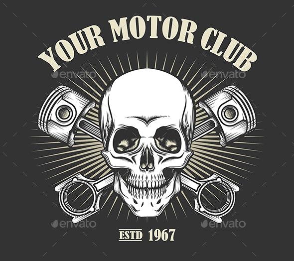 Vintage Motorcycle Club Emblem - Tattoos Vectors