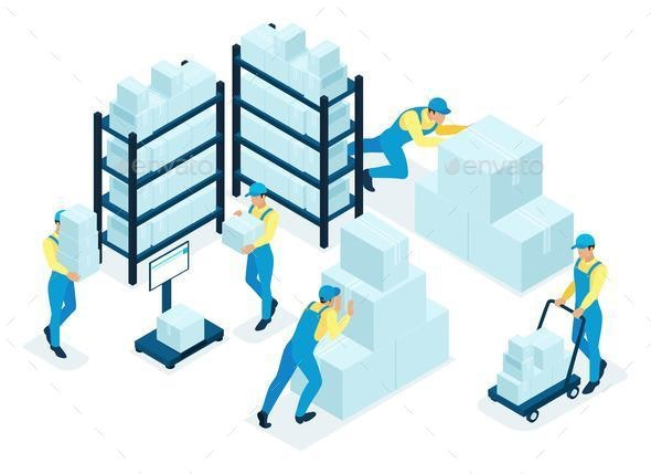 Isometric Concept for Warehouse - Computers Technology