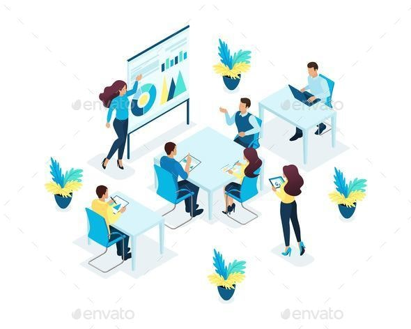 Isometric Concept for Office Staff Training - Concepts Business