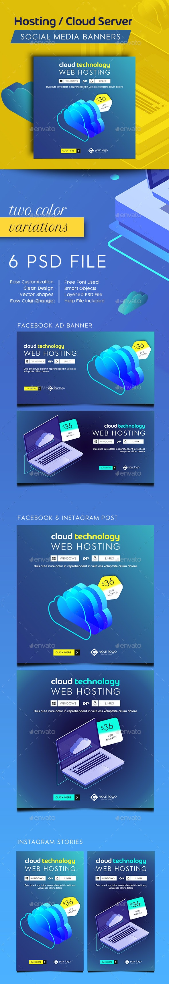 Hosting Facebook and Instagram Banner Set - Social Media Web Elements