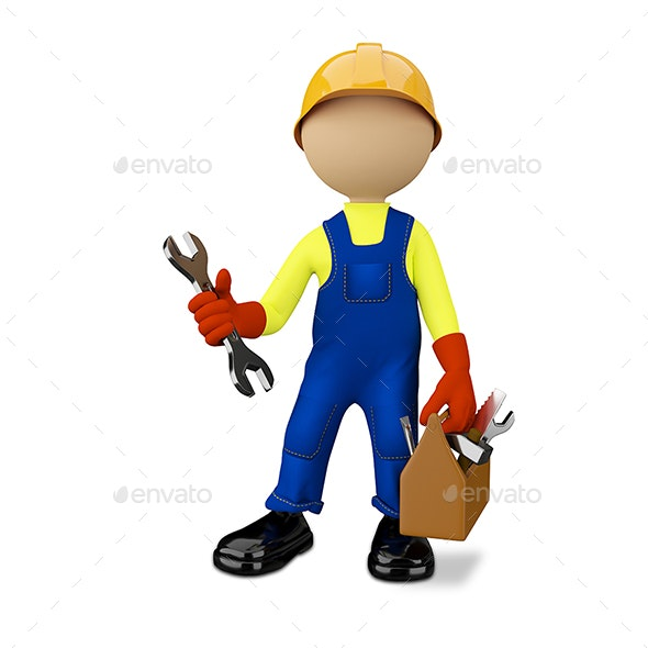 3D Illustration of a Worker with a Toolbox - Characters 3D Renders