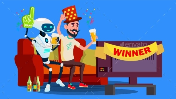 Robot Football Fan. Hat, Beer, Tv Screen - Technology Conceptual