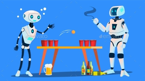 Two Robots Playing Beer Pong On Party Vector - Technology Conceptual