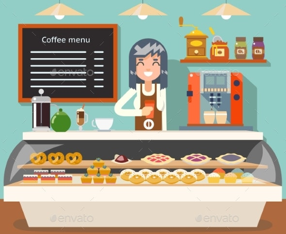 Cafe Coffee Shop Woman Business Interior - Food Objects