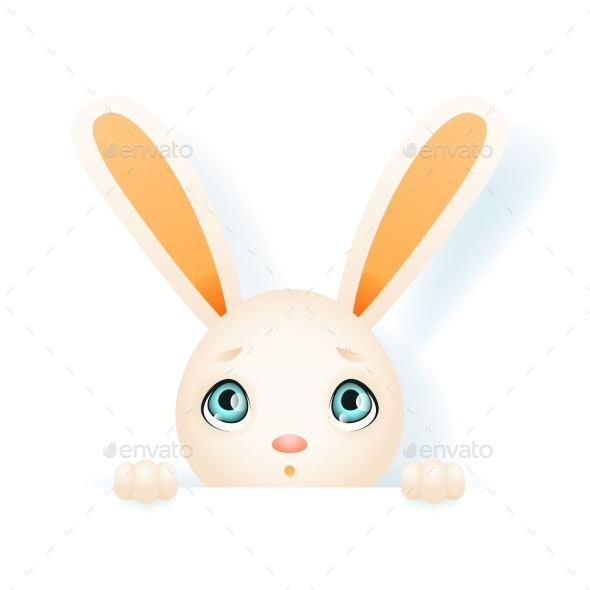 Easter Bunny Rabbit Hole Paws Isolated Design - Animals Characters
