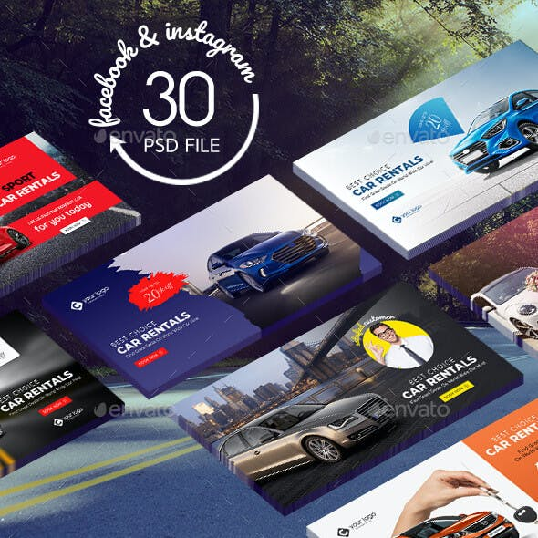 Car Rental Facebook and Instagram Banner Pack