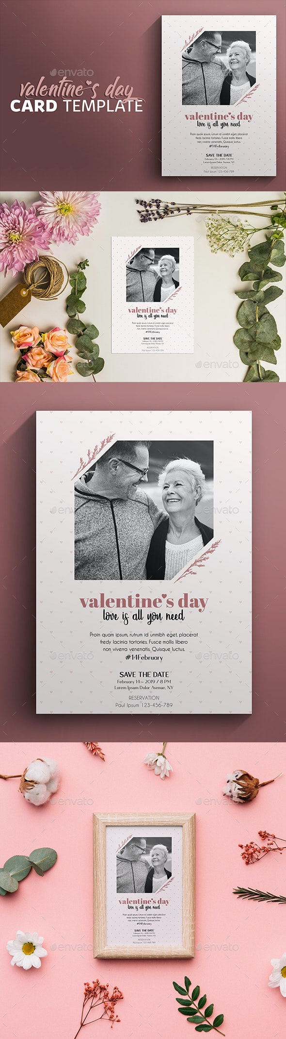 Invitation & Greeting Card Template for Valentines Day - Cards & Invites Print Templates