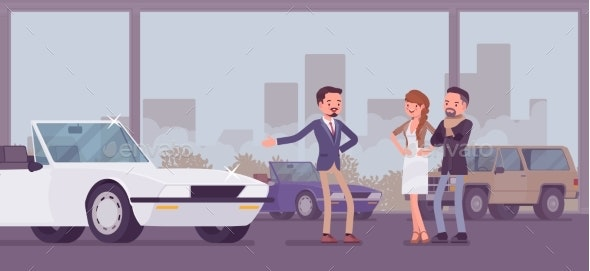 Car Showroom, Dealer and Vehicle Buyers - Business Conceptual