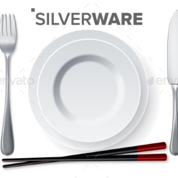 Silverware Set Vector. Silver Metal Knife, Spoon