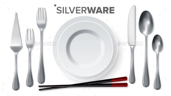 Silverware Set Vector. Silver Metal Knife, Spoon - Food Objects