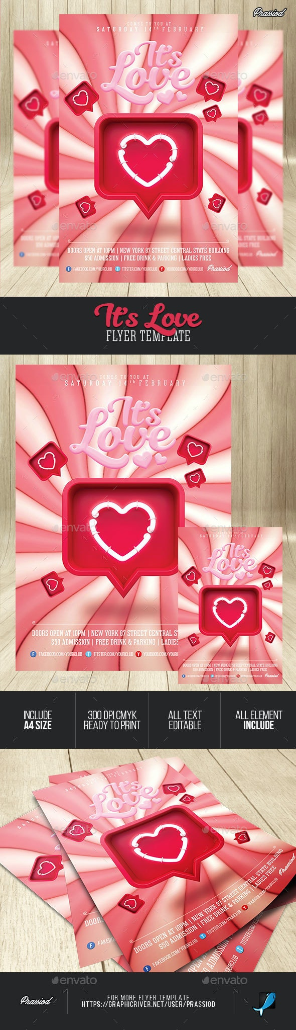 It's Love Flyer Template - Clubs & Parties Events