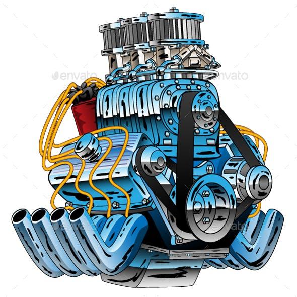 Hot Rod Race Car Dragster Engine Cartoon Vector