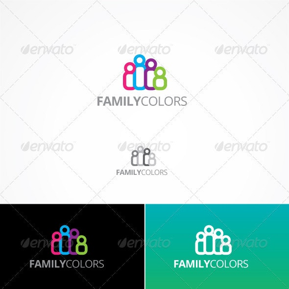 Family Colors - Humans Logo Templates