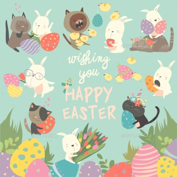 Easter Set with Bunny - Miscellaneous Seasons/Holidays