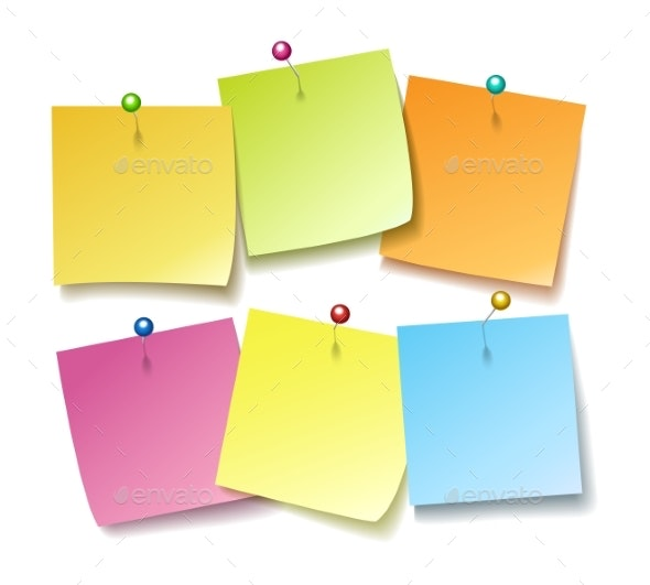 Sticky Notes with Pins - Miscellaneous Vectors