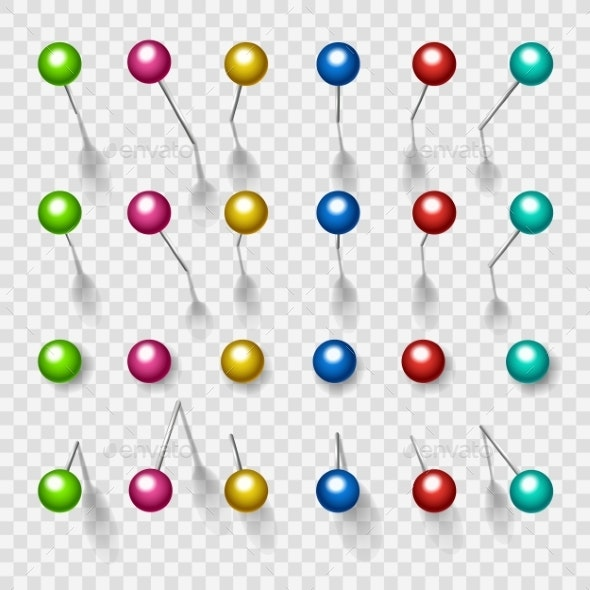 Colorful Thumbtacks or Pushpins - Man-made Objects Objects