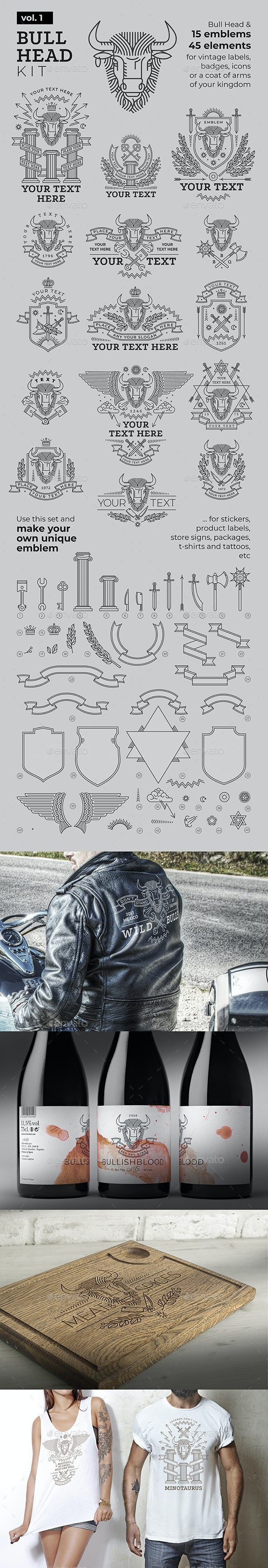 Bull Head Badges and Logos kit - Badges & Stickers Web Elements