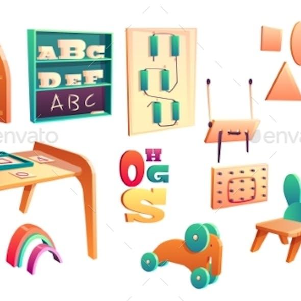 Vector Montessori Set Elements for Elementary