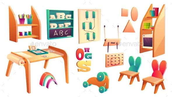 Vector Montessori Set Elements for Elementary - Man-made Objects Objects
