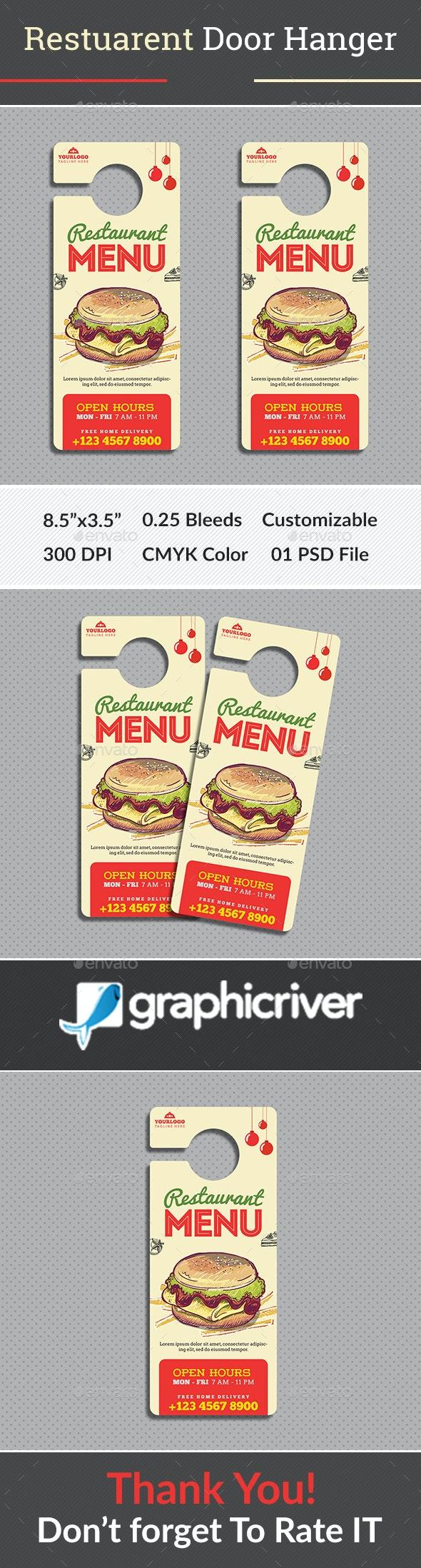Restaurant Door Hanger - Miscellaneous Print Templates
