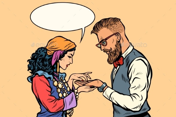 Gypsy Palmist and Hipster - Religion Conceptual