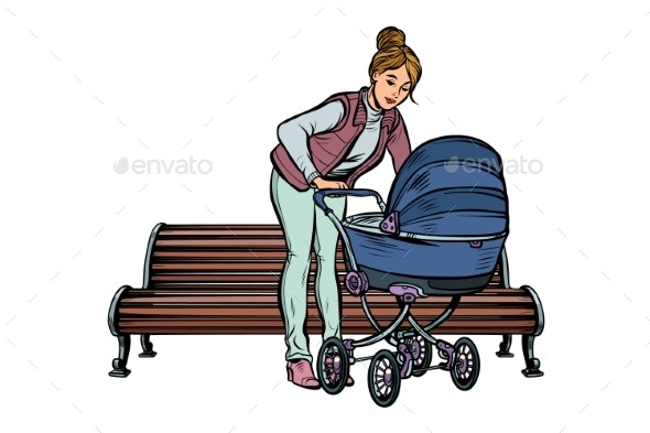 Young Mother with a Baby Carriage Park Bench - People Characters