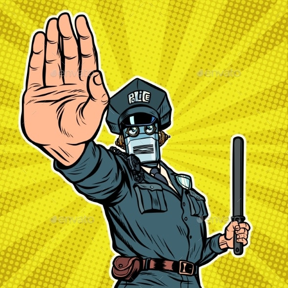 Stop Hand Gesture Robot Policeman - Computers Technology