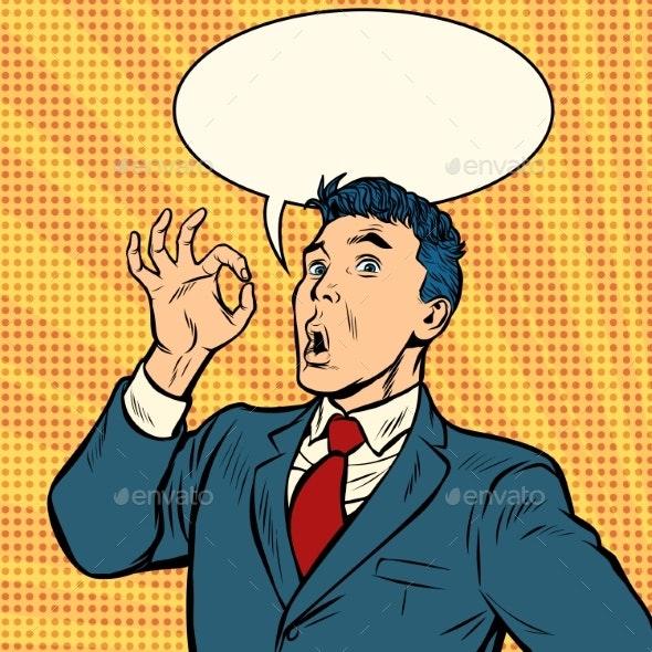 Businessman Surprise OK Gesture - People Characters