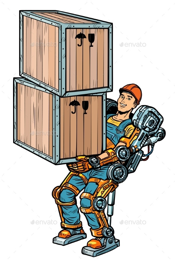 Container Loader Working in an Exoskeleton - Concepts Business