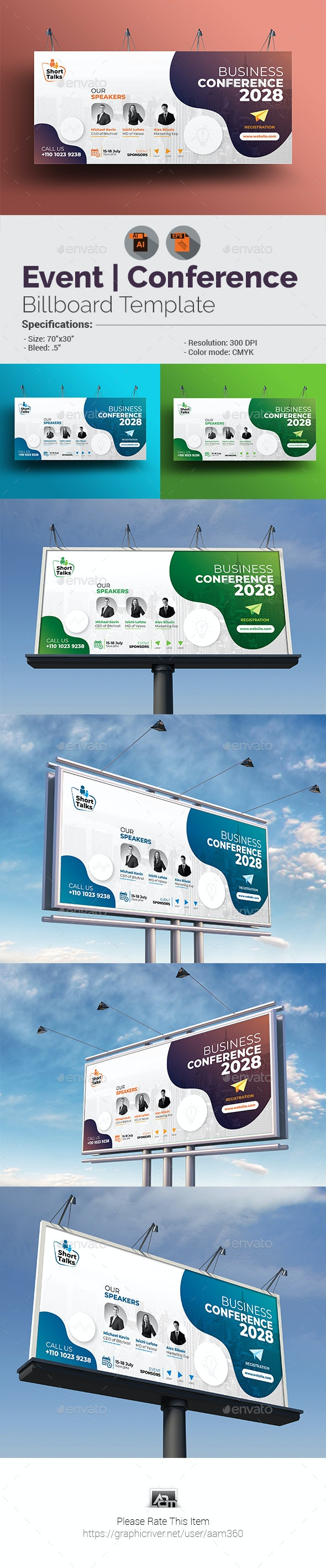 Business Conference Billboard Template - Signage Print Templates