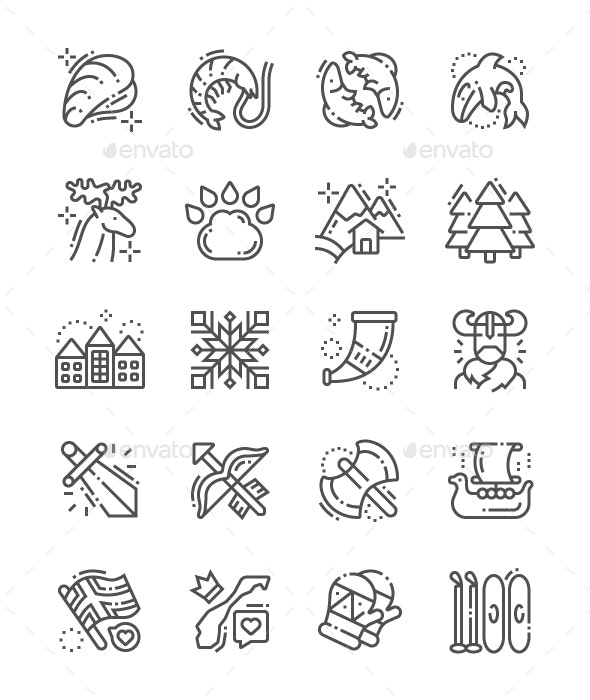 Norway Line Icons - Miscellaneous Characters