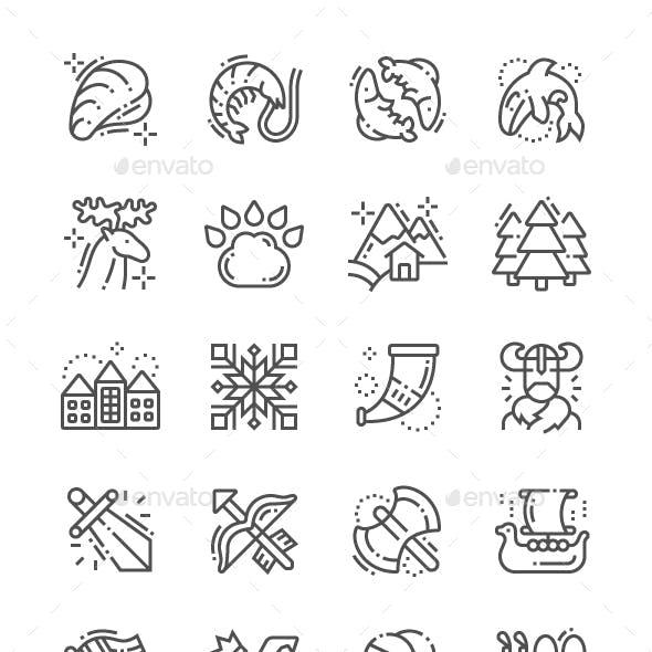 Norway Line Icons
