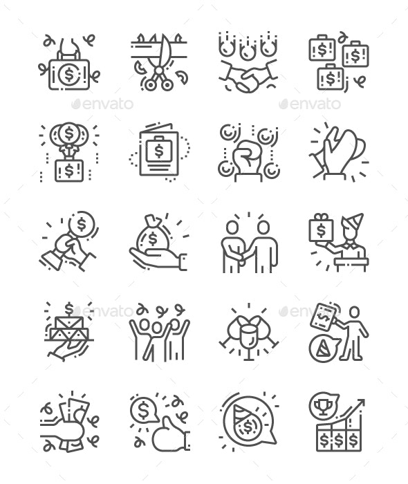 Business Celebrations Line Icons - Business Icons